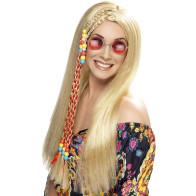 Frau mit Perücke Langhaar glatt Mittelscheitel mit Zöpfchen für 70er Kostüme und Hippies