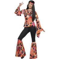 Schlanke Frau im Catsuit, buntes psychedelisches Muster