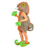 Karnevalskostüm ausgefallen als Leguan Chamäleon Dame
