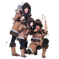 Eskimofamilie Gruppe mit Kostüm Eskimo in braun