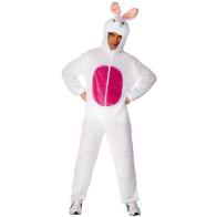 Mann als Hase verkleidet mit Overall in weiß rosa wie Duracell