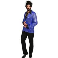 Pailletten-Jacket blau