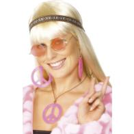 Hippie Set in roas mit Brille, Peace Anhänger, Ohrringe und Stirnband