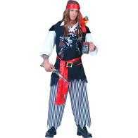 Totenkopf Pirat. Mann mit Augenklappe und Kopftuch