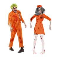 Untote Langzeit Häftlinge orange Paarkostüm
