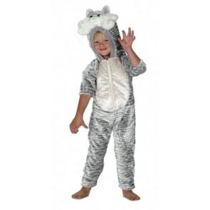 Kind mit grauem Tiger Katzenkostüm als Overall
