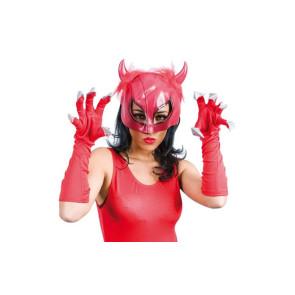 Maske Teufelin rot mit Nägeln