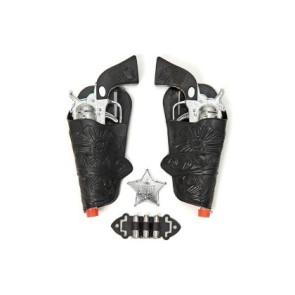 Wyatt Earp Pistolen Set schwarz mit Holster und Stern