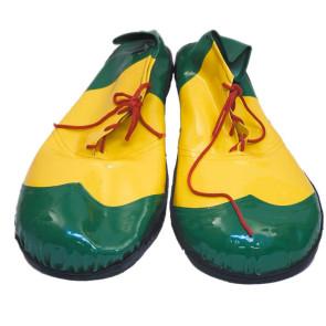 Foto Clown Schuhe Paar gelb grün zum Schnüren