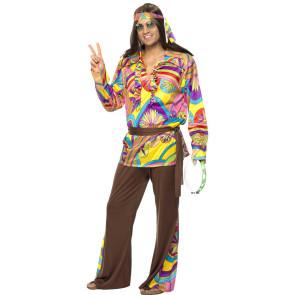 Mann mit Hippiekostüm psychodelisch und Mulitcolor front