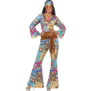 Hippie Frau im Flower Power Overall Kostüm