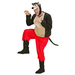 Mann mach Grimassen im Tierkostüm Böser Wolf
