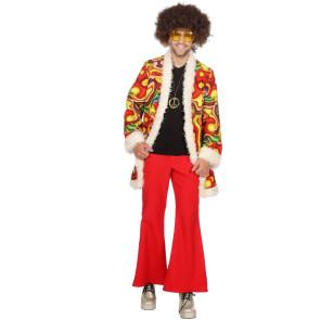 Mann im Flower Power Hippie Kostüm türkis, gelb, pink front