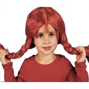 Mädchen mit Perücke und roten Zöpfen ähnliche wie Pipi Langstr