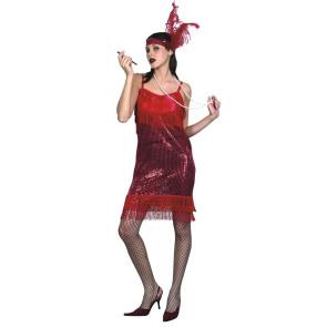 Frau im Charleston Kleid rot mit Stirnband