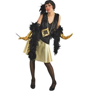 Frau in Fasching Kostüm Charleston Kleid, schwarz gold