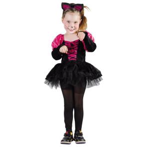 Mädchen im Katzenkostüm für Kleinkinder verkleidet