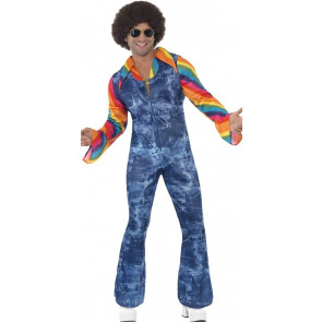 Mann im 70er Disko Look Latzhose mit Schlaghose