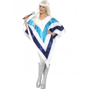 Frau verkleidet als Diskoqueen im Retro Stil der 70er ahnlich Abba