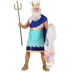 Mann als antiker Gott der Meere verkleidet, mit Krone