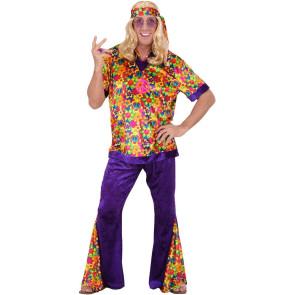 Hippiekostüm mit Flower Power Druck, Schlaghose lila