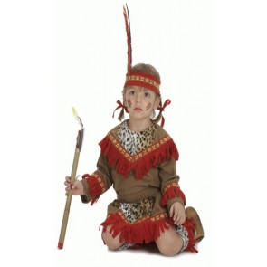 Indianerin Kleinkind Baby Kostüm in Velousleder Optik mit Kopfschmuck und Gamschen