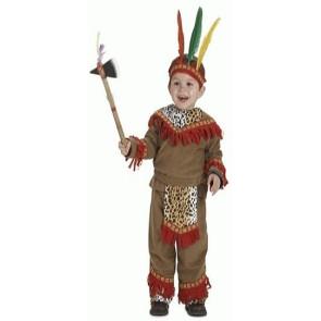 Indianerkostüm für kleine Jungs mit Fransen und Leoprint