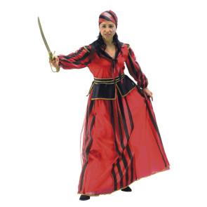Piratenkleid lang in rot mit gestreiften Kopftuch