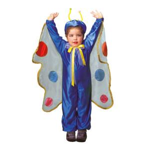 Kleinkind als Schmetterling verkleidet in blau