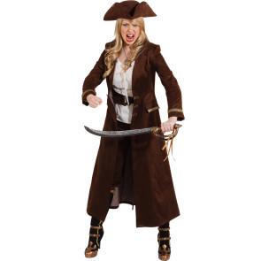Kostümmantel braun für Piratin und Mittelalter
