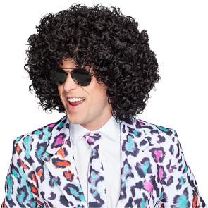 Extra große Afro Frisurperücke mit krausen Haaren in schwarz
