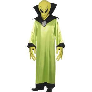 Grünes Alien mit Maske und Hände