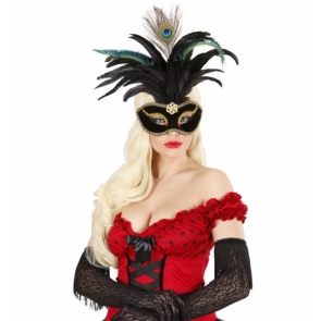 Maske Venezia mit Brosche, Goldborde, Federn, Pfauenauge
