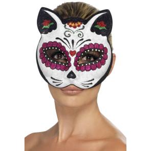 Bunte Katzenmaske mit Strass
