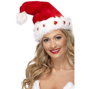 Light Up Santa Hat, Plush Fur, Deluxe, on Display Card
