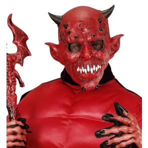 ausgefallene Teufelmaske authentisch mit Hörnern