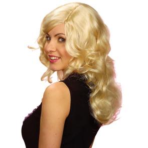 Blonde Damenperücke mit Locken und Scheitel