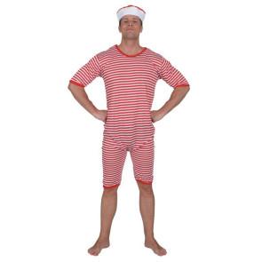 Badeanzug Herren rot/weiss geringelt