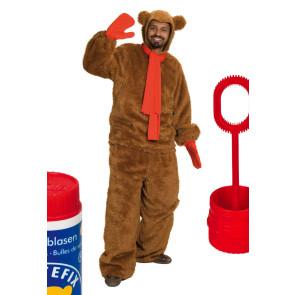 Bärenkostüm mit Schal rot