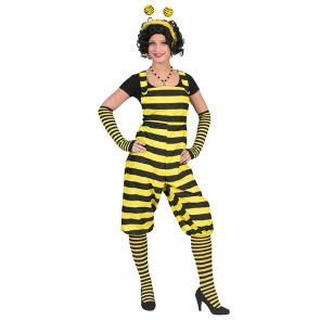 Frau im gelb schwarzen Bienenkostüm mit Flügeln und Haarreif