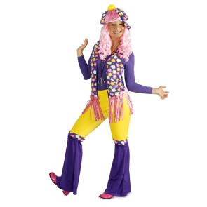 Damenkostüm Blumenkinde Hippie Flower Power mit Schlaghose