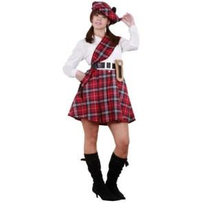 Bild Schottin im Schottenrock mit Mütze