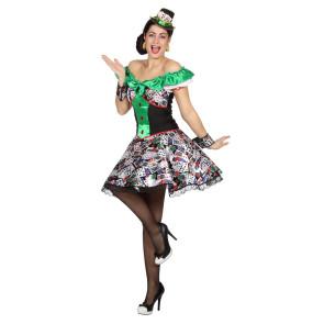 sexy Flamencotänzerin schwarz mit Rüschenrock