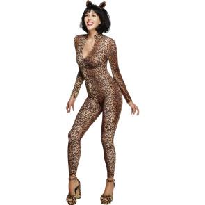 Aufregender Catsuit Leoparden Muster Sexy Kostüm