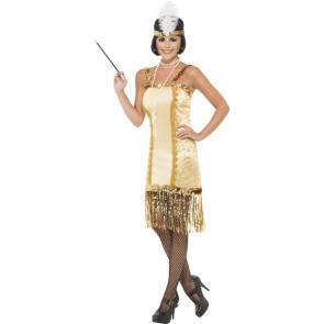 Charleston Kostüm in Gold mit Kopfschmuck