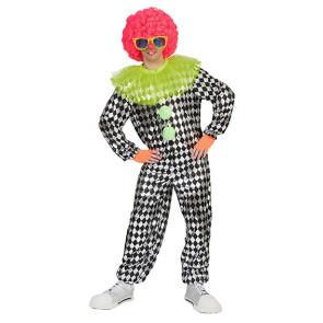 Mann verkleidet im grünen Clown Kostüm mit Hut und Perücke gelb