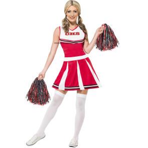 Cheerleader Kostüm mit Büschel in rot weiss