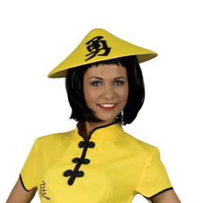 Chinahut aus Stoff in gelb