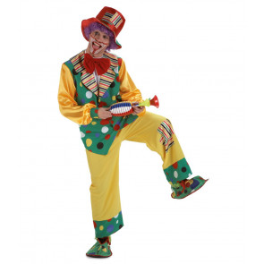 Clownb Anzug gelb mit rotem Hut