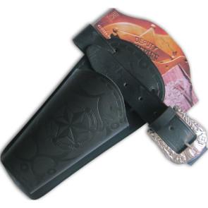 Coltgürtel schwarz erwachsene, Holster in Leder Faserstoff für Revolver